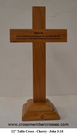 Traditional Table Cross - John 3:16 - Cherry - 12""