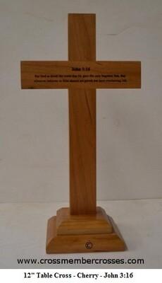 Traditional Table Cross - John 3:16 - Cherry - 12