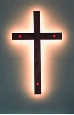 Traditional Wall Cross With 3 Symbolic Stain Glass Inserts - 36