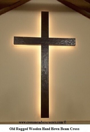 "Old Rugged Rustic Beam Cross  - 1 Only - Finished and Ready to Ship - Dark Oak - With Back-lighting - 96"" - Normal Retail Price: $3650.00  - 10% Discounted Price: $3285.00 - Free Shipping"