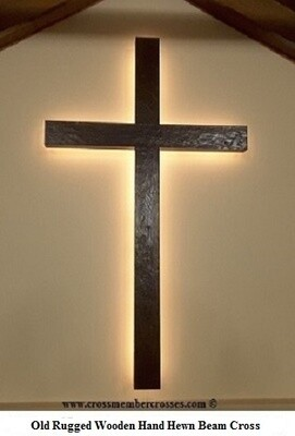 Old Rugged Rustic Beam Cross  - 1 Only - Finished and Ready to Ship - Dark Oak - With Back-lighting - 96