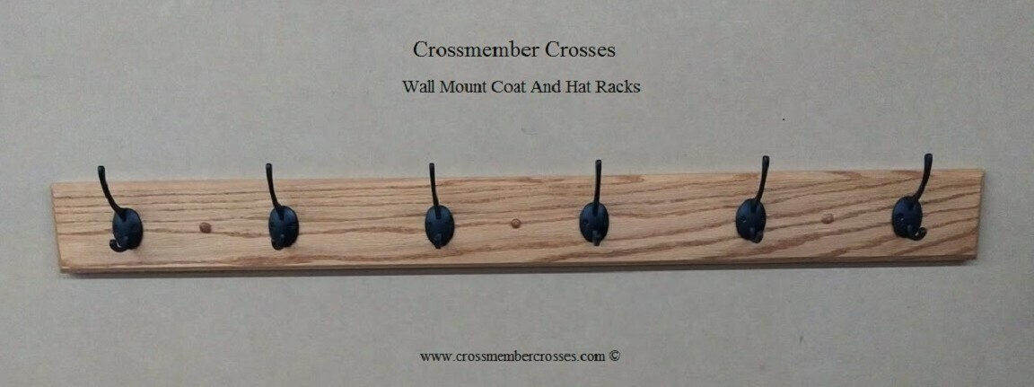 """Wall Mount Coat And Hat Racks - Oak - 24"""" up to 48"""""""