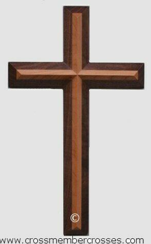 "Two Layer Beveled Wooden Cross - 8""-10""-12""-16""-24"""