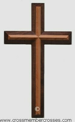 Two Layer Beveled Wooden Cross - 8