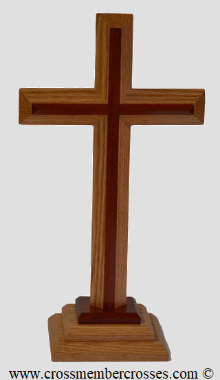 Two Layer Beveled Wooden Table Crosses Two Sided   - 8""