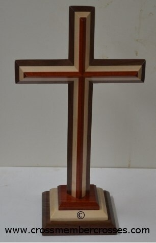 Three Layer Beveled Wooden Table Crosses Two Sided - 16""
