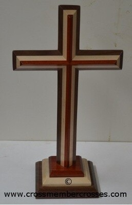 Three Layer Beveled Wooden Table Crosses Two Sided - 16