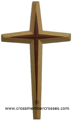 Two Layer Tapered Beveled Wooden Cross - 84