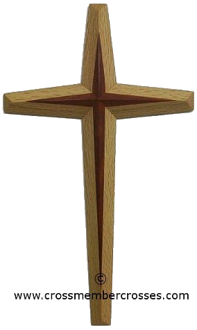 """Two Layer Tapered Beveled Wooden Cross - 36"""""""