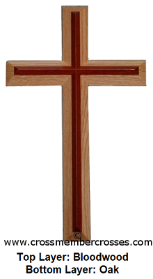 """Two Layer Beveled Wooden Cross - 8"""" up to 96"""""""