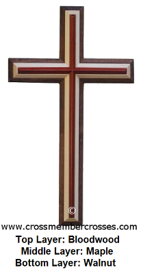 Three Layer Beveled Stepped Up Wooden Cross - 24