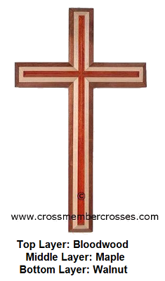 """Three Layer Beveled Wooden Crosses - 8"""" up to 96"""""""