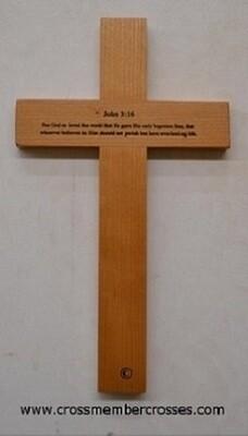 "Traditional Wall Cross - John 3:16 - Cherry - 12"""