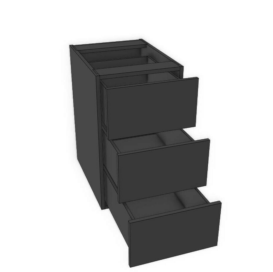 "Base 3 Drawer unit -Black Melamine (12"" - 18"")"