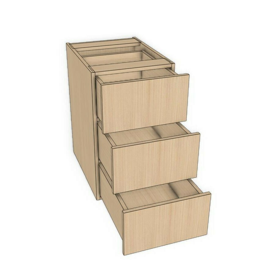 "Base 3 Drawer unit -Maple Melamine (12"" - 18"")"