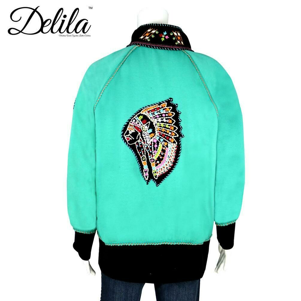 Delila Hand Embroidered Fleece Jacket Indian Chief Collection