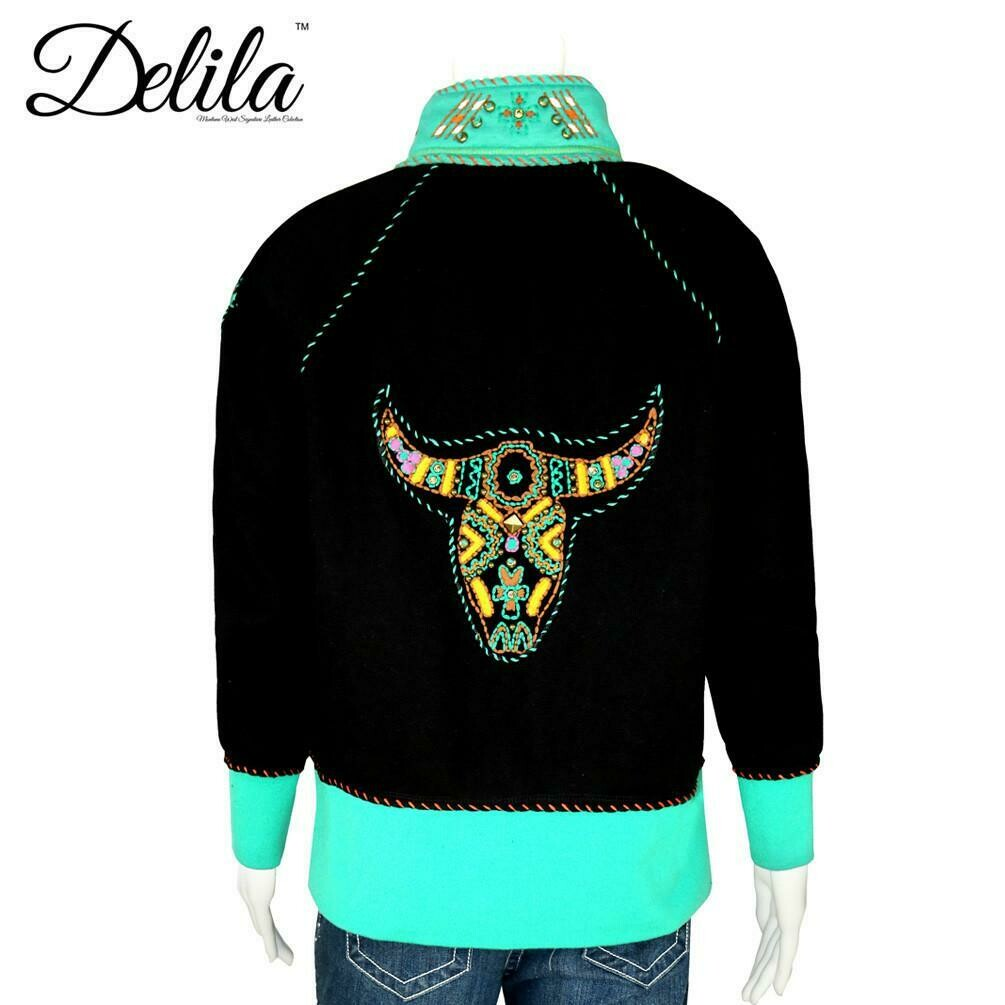 Delila Hand Embroidered Fleece Jacket Longhorn Collection