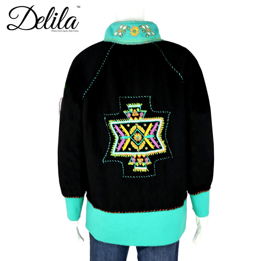 Delila Hand Embroidered Fleece Jacket  Aztec Collection