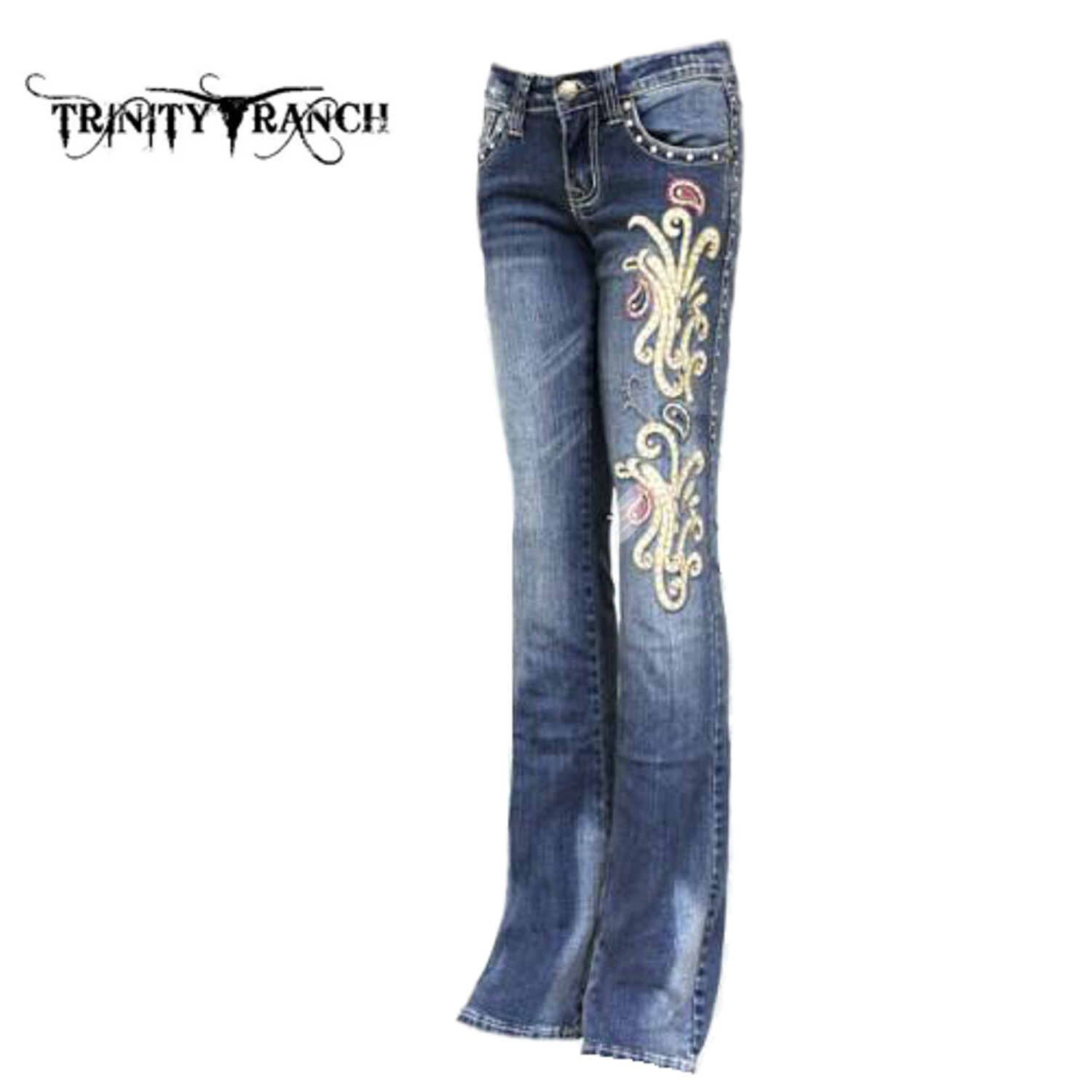 Trinity Ranch  Stretchy Hip Hugger Boot Cut Denim Jeans