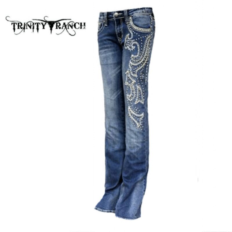 Trinity Ranch  Stretchy Hip Hugger Boot Cut Denim Jeans