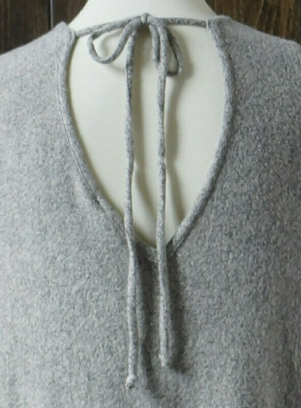 Grey Cashmere Long Sleeve Tunic  V-Neck Back with Ties