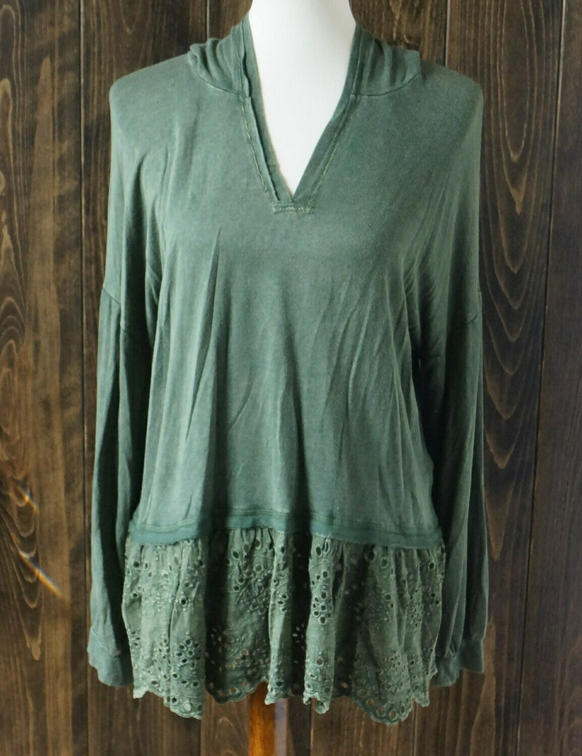 Evergreen Ruffled Peplum Crop Hoodie with Long Sleeves