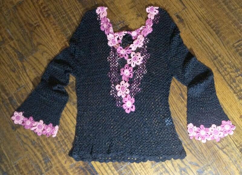 Black Crochet Knit Top Long Sleeve Pink Flower Petal Trim Deep V-Neck Back with Crisscross Tie
