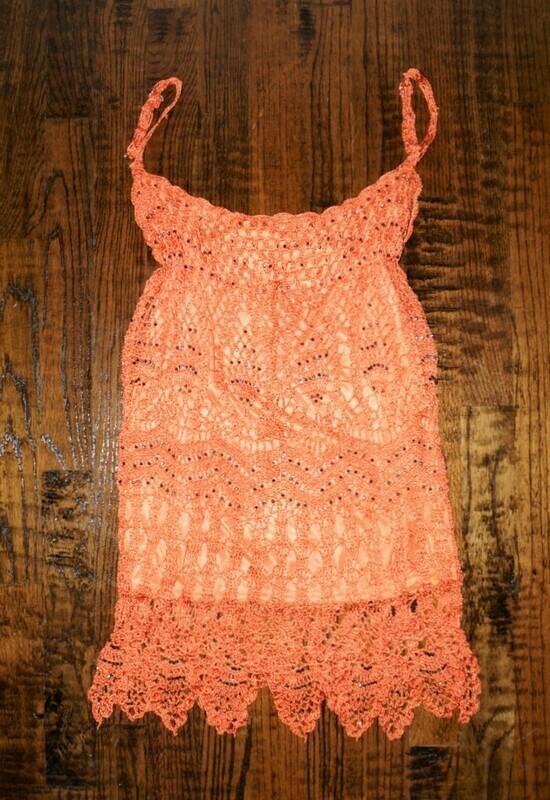 Tangerine Sleeveless Crochet Knit Top Empire Neckline Embellished Rhinestones
