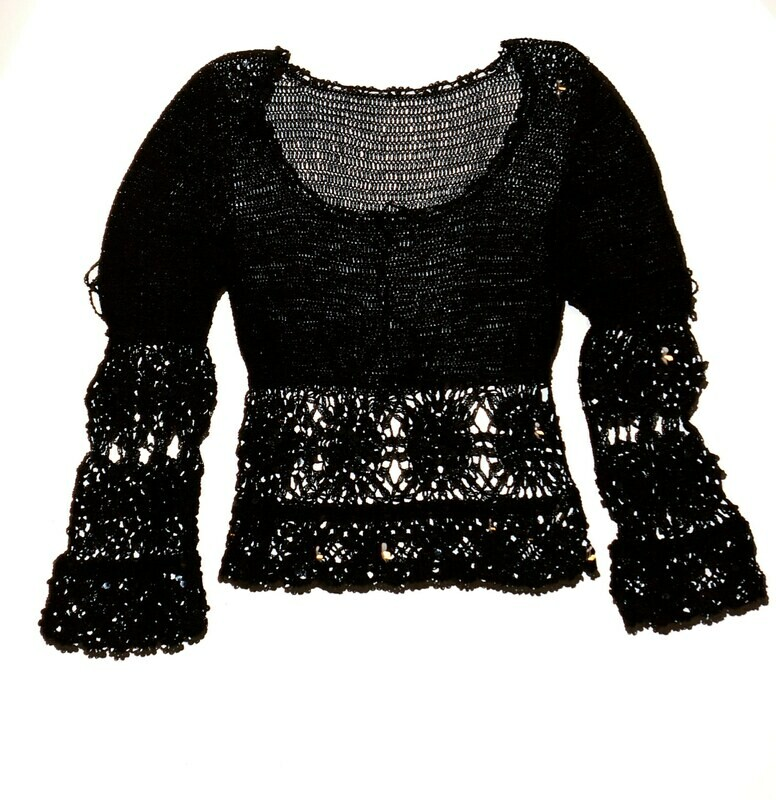 Black Crochet Knit Top  Embellished Sequin Long Sleeve with Drawstring Ties