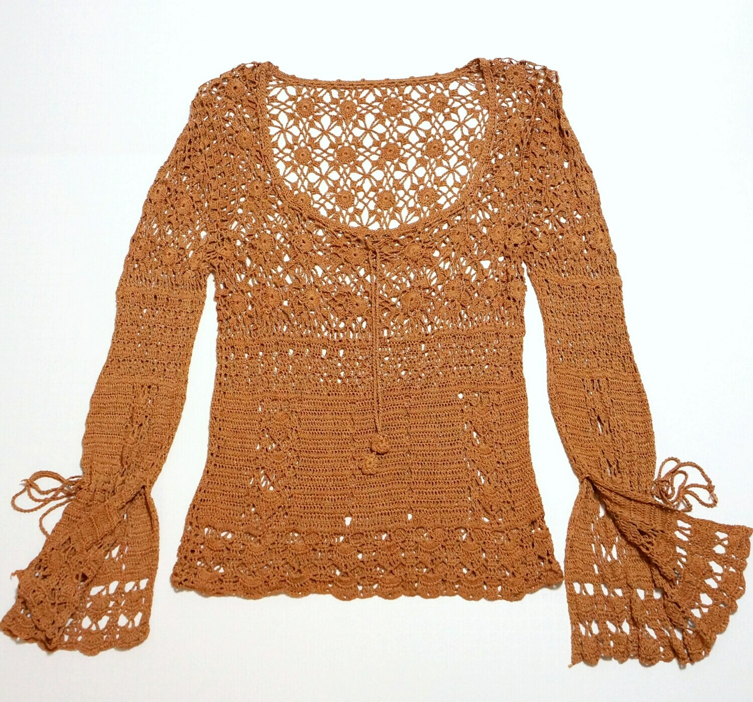Crochet Knit Top Bell Sleeves Ties at Wrists