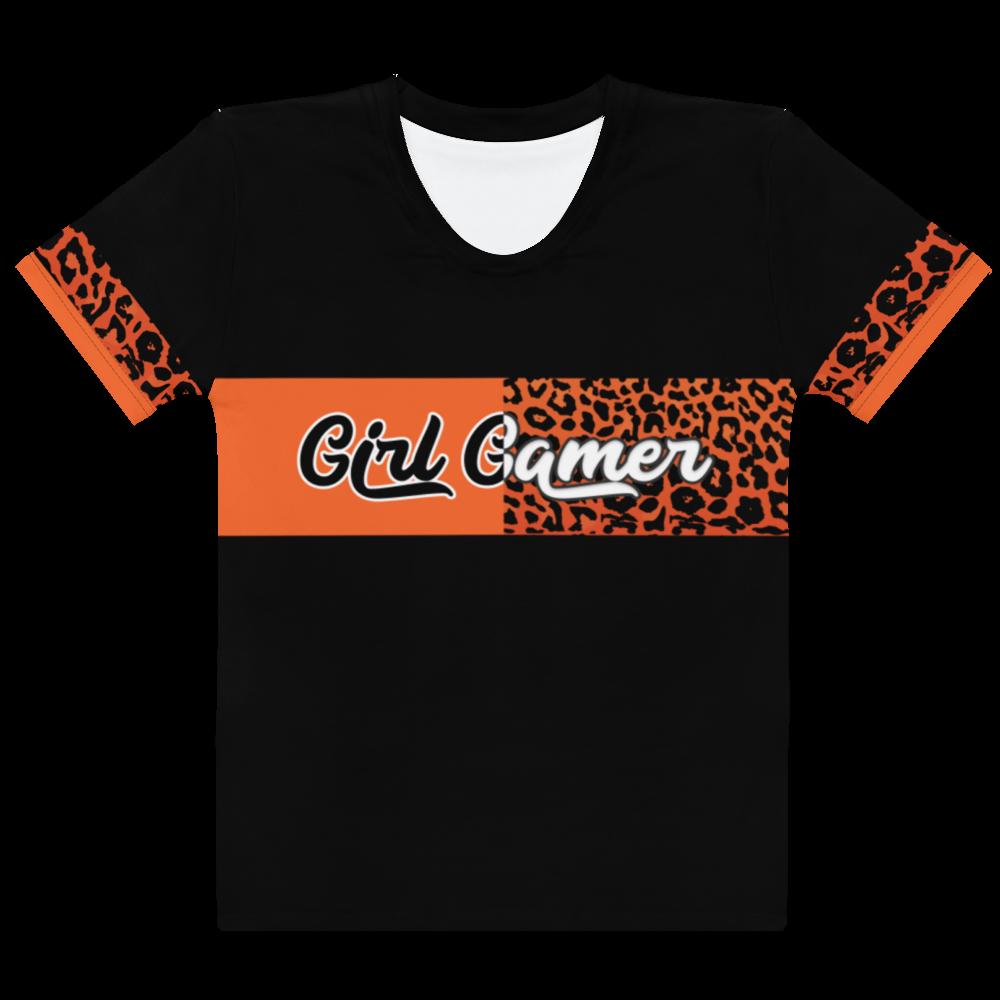 """Orange Cheetah """"Girl Gamer"""" T-shirt"""