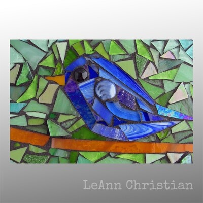mosaic print magnets - blue bird