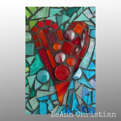 mosaic print magnets - rectangle-red heart