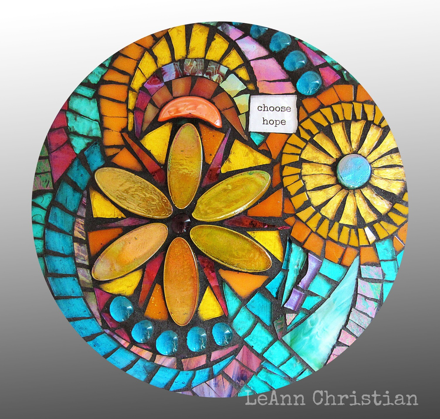 mosaic print glass cutting board-choose hope