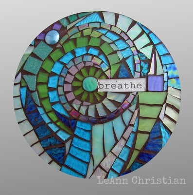 mosaic print glass cutting board-breathe