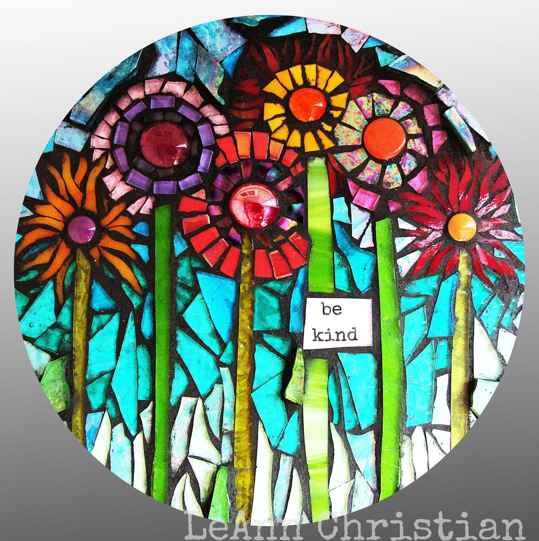 mosaic print glass cutting board-be kind
