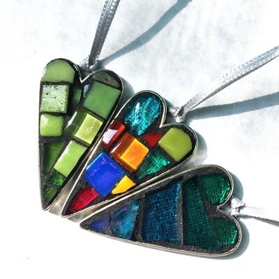 heart mini mosaics on metal base