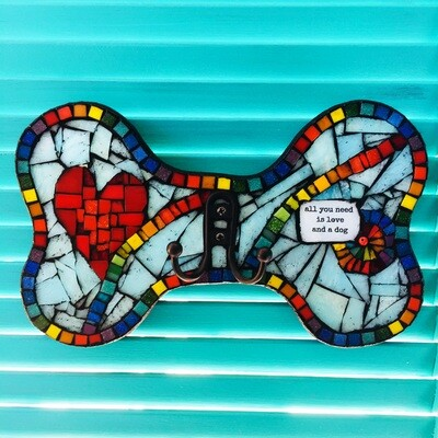glass mosaic leash holder - all you need is love and a dog