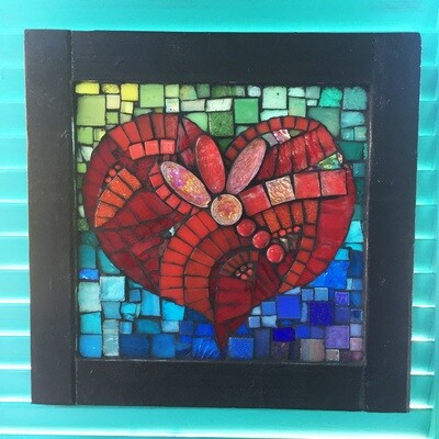 glass mosaic - red heart