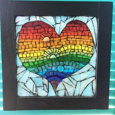 glass mosaic - rainbow heart
