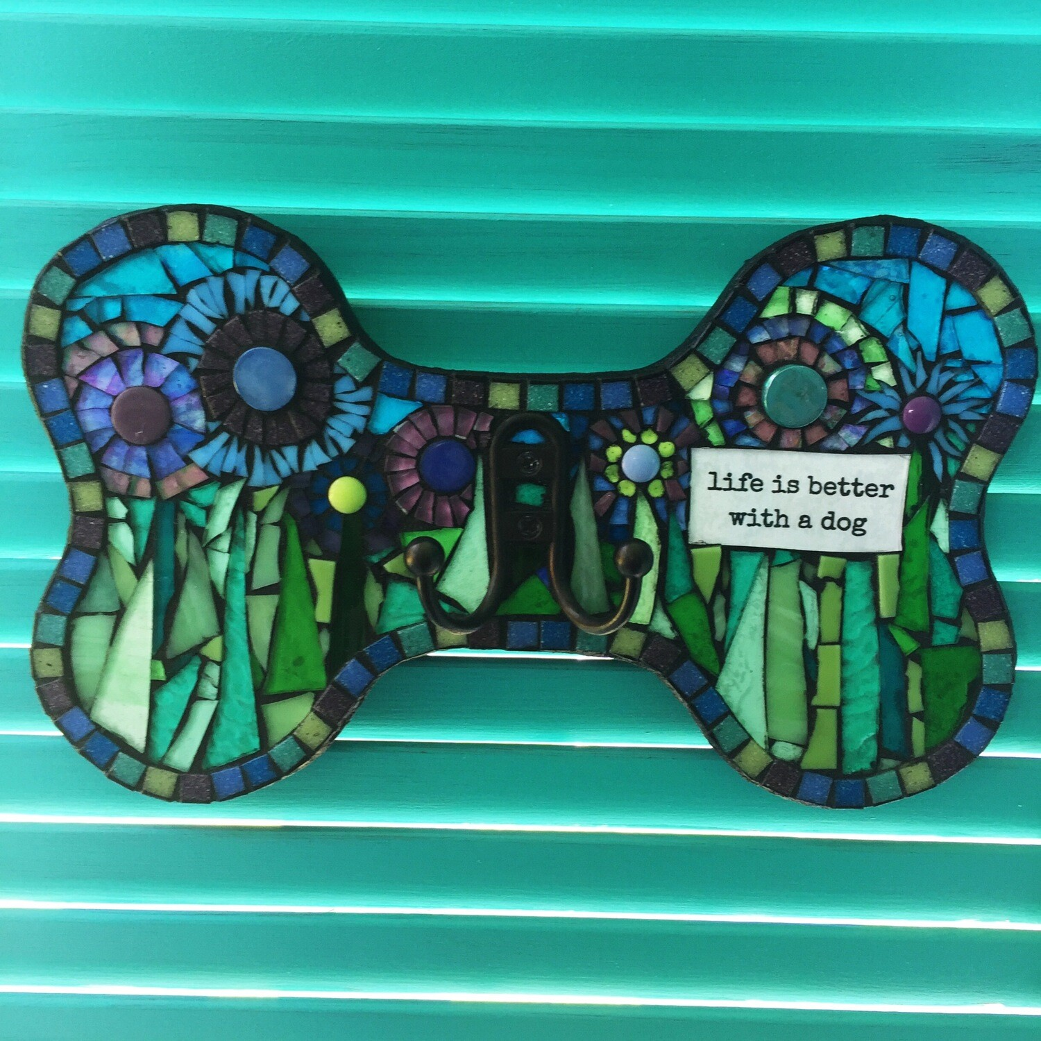 glass mosaic leash holder-life is better with a dog - floral