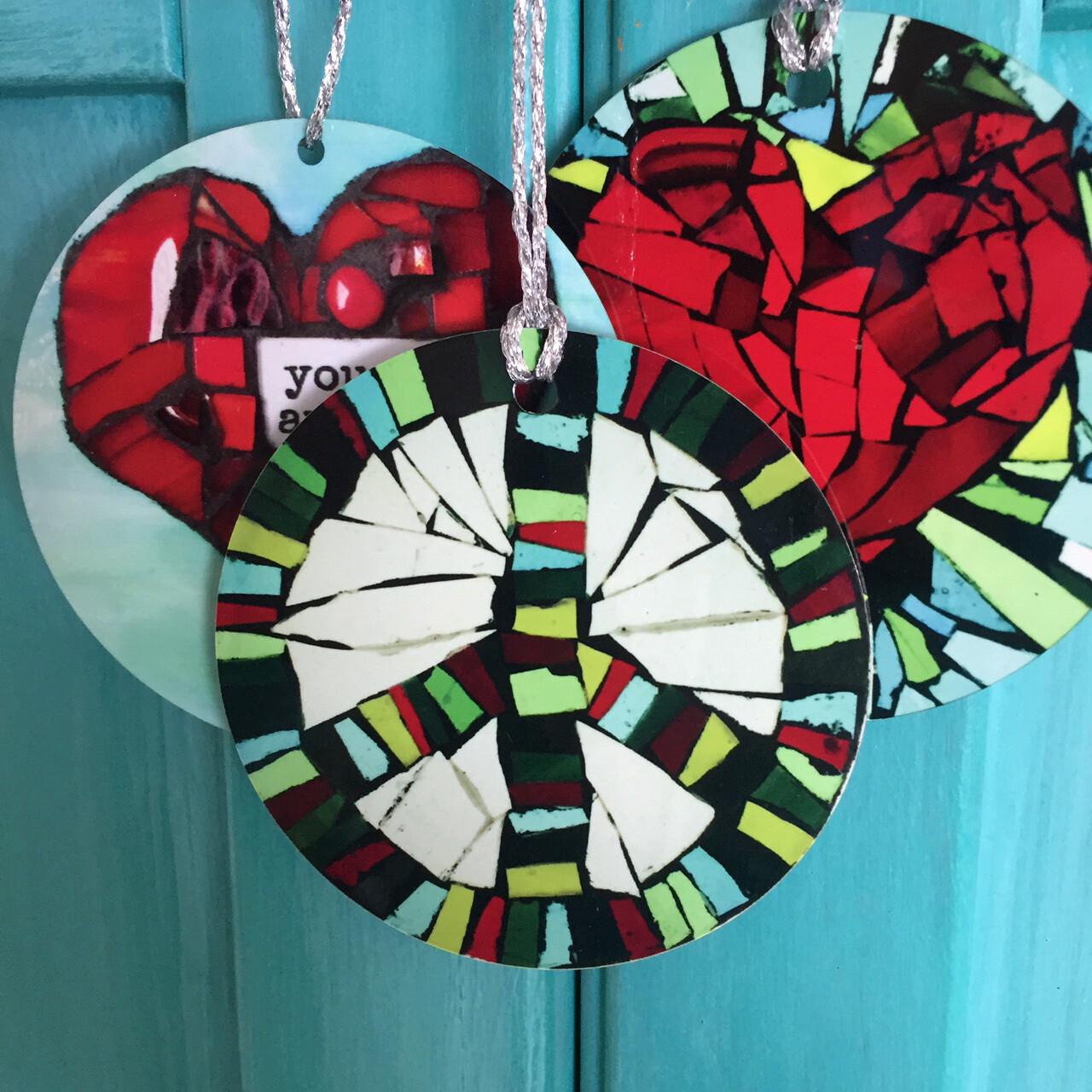 mosaic print ornaments