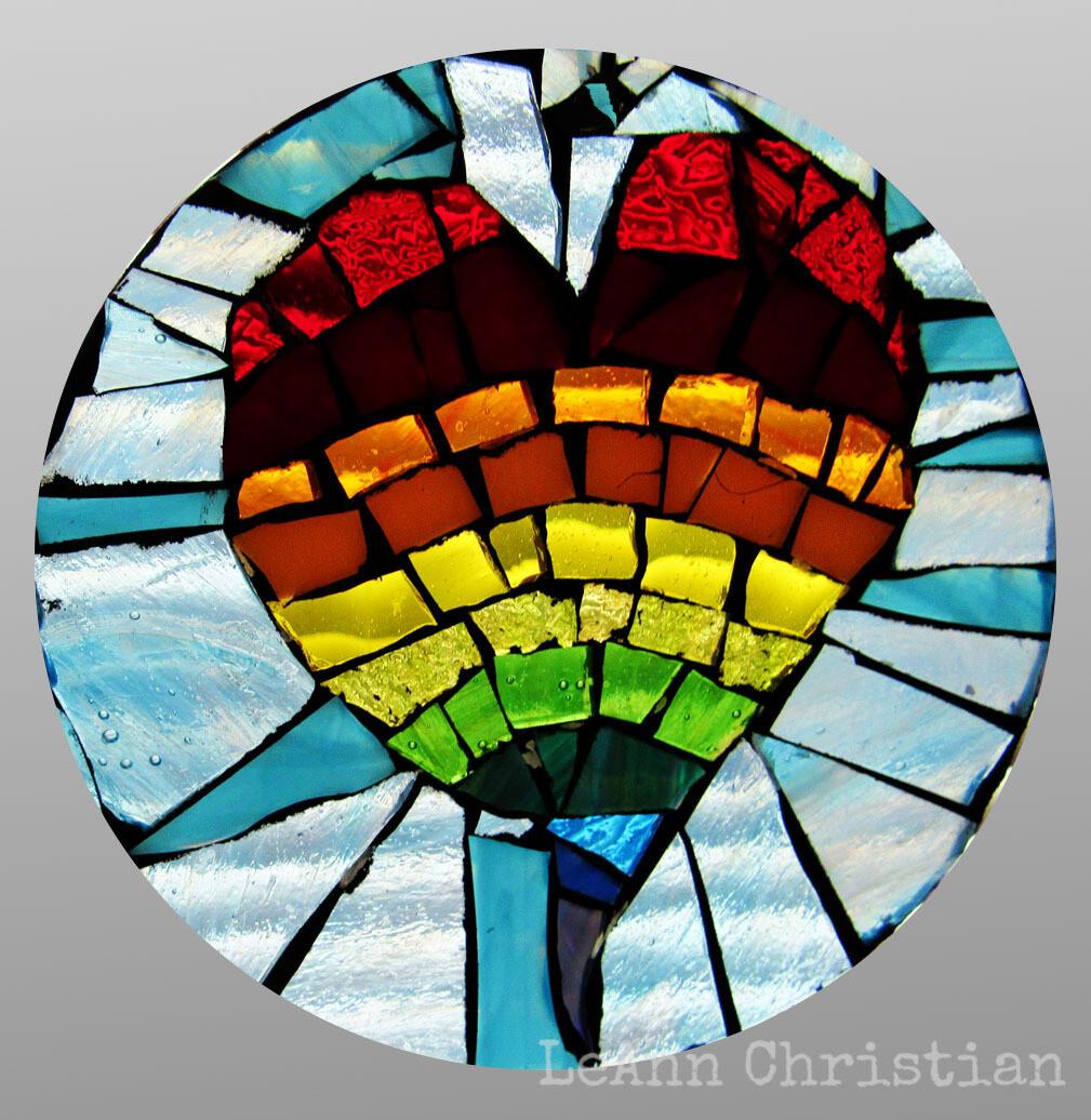mosaic print magnets - rainbow heart