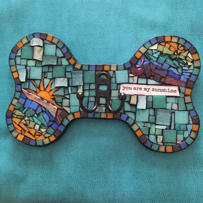 glass mosaic leash holder - you are my sunshine