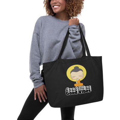 Good Vibes Are Coming Large organic tote bag