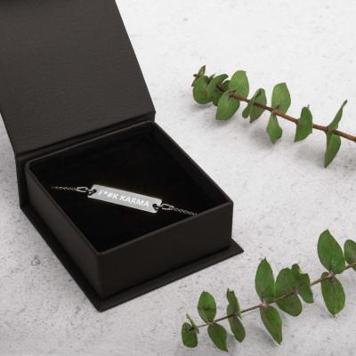 F*#K KARMA Engraved Silver Bar Chain Bracelet