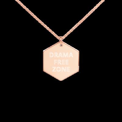 DRAMA FREE ZONE Engraved Silver Hexagon Necklace