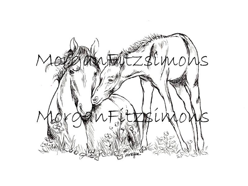 New Life Mum and Foal Horse Digi Stamp