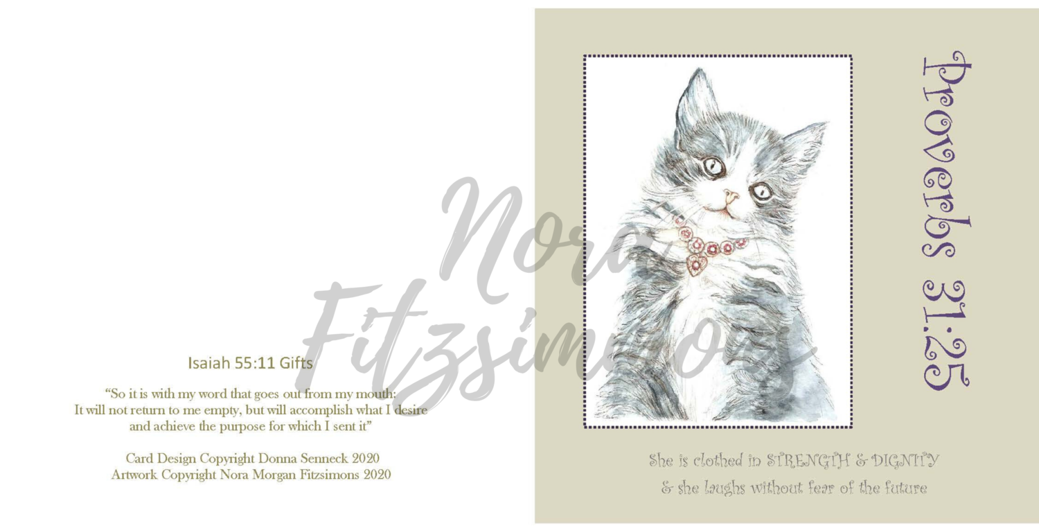 Kitty With Necklace  -  Faith Card