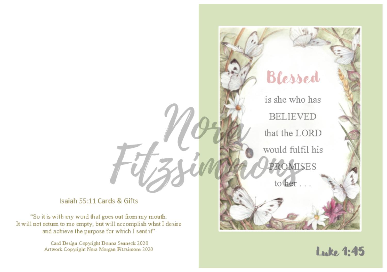Blessed Butterfly Border - Faith Card